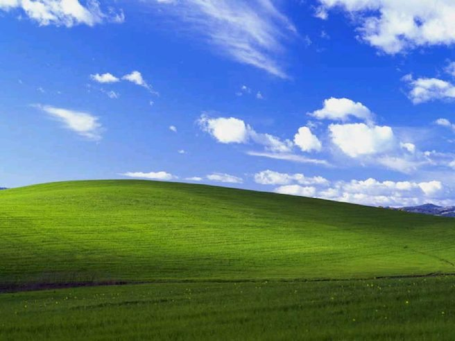 Windows XP bliss wallpaper, photograph of a green hill and blue sky with clouds in the Los Carneros American Viticultural Area of Sonoma County, California, United States.