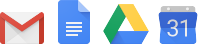 G Suite product icons of Gmail, Docs, Drive and Calendar