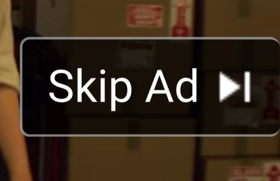 Screenshot of skip ad button on YouTube